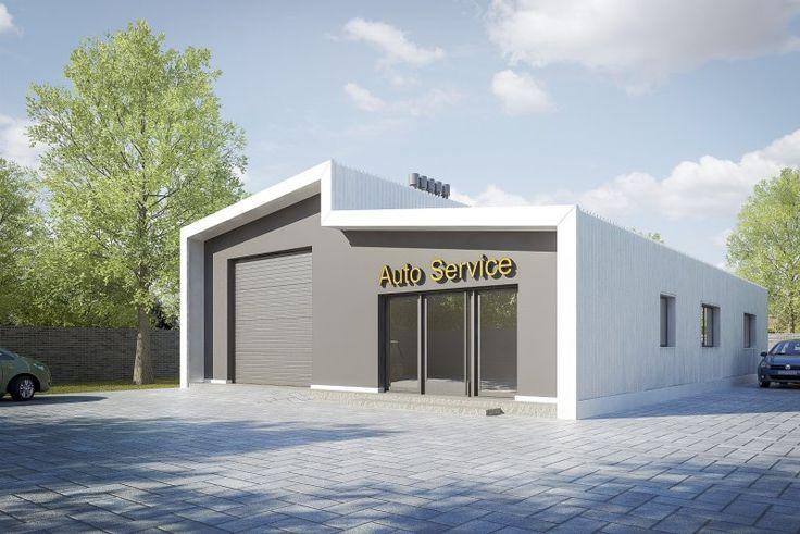 Projekt warsztatu samochodowego, parterowego, niepodpiwniczonego, przeznaczonego dla samochodów dostawczych i osobowych z pomieszczeniem biurowym, socjalnym i łazienką.