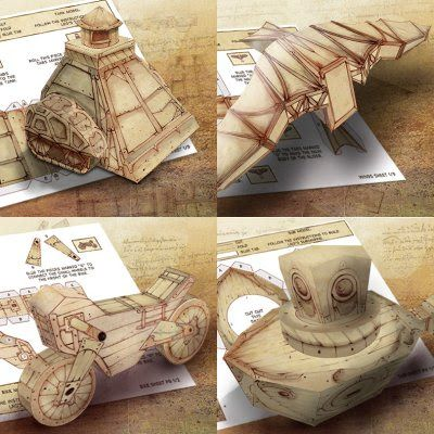 Leonardo Papercraft Vehicles | Tektonten Papercraft The BBC's children's television series Leonardo features an imaginative story line that follows the adventures of a teenage Leonardo DaVinci. The kid's activity page for the series features four free paper models of Leonardo's inventions. Included in the set are a tank, a bicycle, a glider and a submarine.