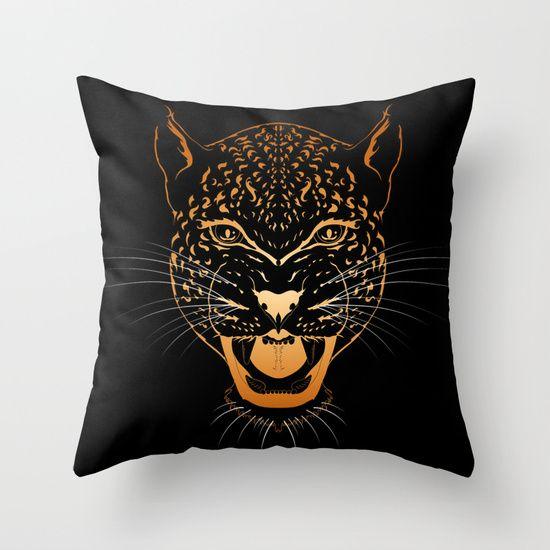 Gold Leopard Throw Pillow