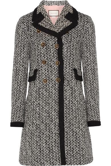 Gucci - Double-breasted Tweed Coat - Black - IT48