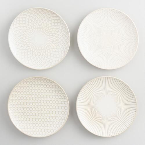 One of my favorite discoveries at WorldMarket.com: White Textured Stoneware Plates Set of 4