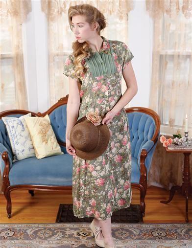 Green Garbo Dress | Green Floral Pintuck Dress | Victorian Trading Co.