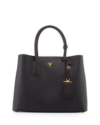 Saffiano Cuir Medium Double Tote Bag, Black (Nero) by Prada at Neiman Marcus.