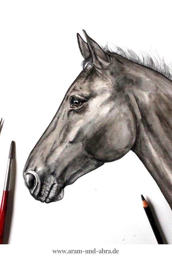 Paint Horse Watercolor Portrait Draw Ideas Creative Art Art Creation Portrait Zeichnen Hund Malen Hund Zeichnen