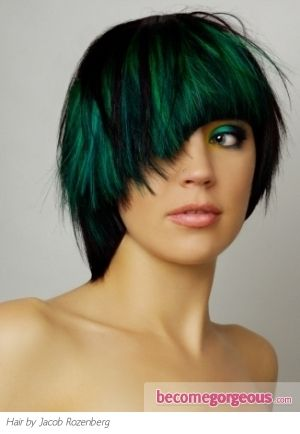 Gorgeous my daughter would look awesome with this color: Green Highlights, Hair Styles, Emerald, Green Hair Colors, Girl Hairstyles, Beauty, Photo, Women Hairstyles, Dark Green Hair