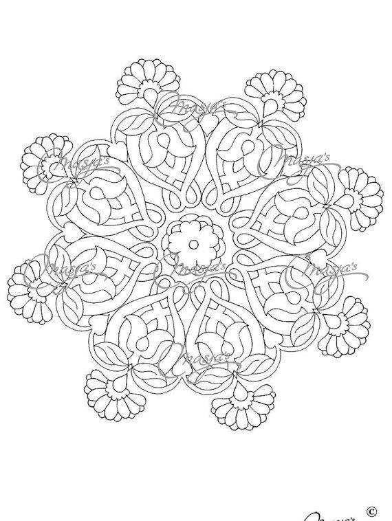 Masja's Mandala set of 3 hand-drawn Coloring by MasjasArtwork