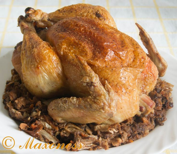 Жаркое из курицы, фаршированной орехами и черносливом