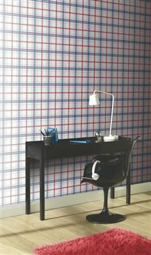 Check Checkmate Wallpaper Blue/Red