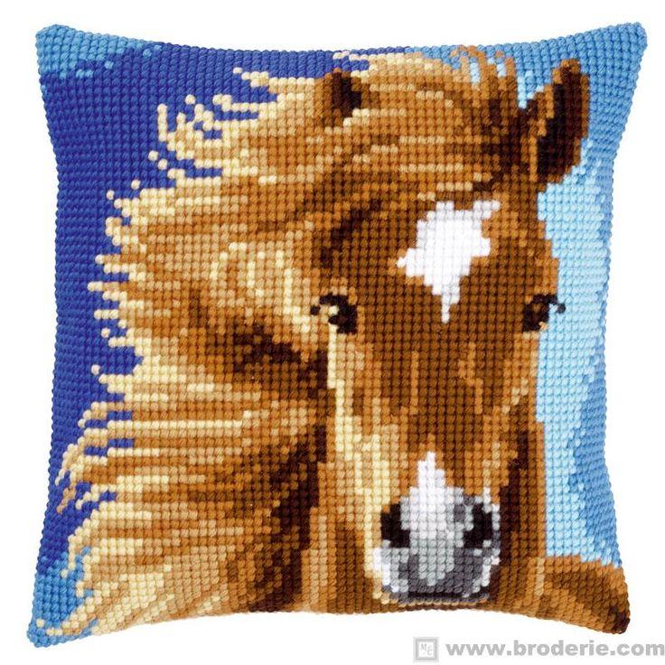 travesseiro travesseiro ponto cruz bordado cavalo marrom Vervaco VE.0149463 - A Casa de tapeçaria e bordados