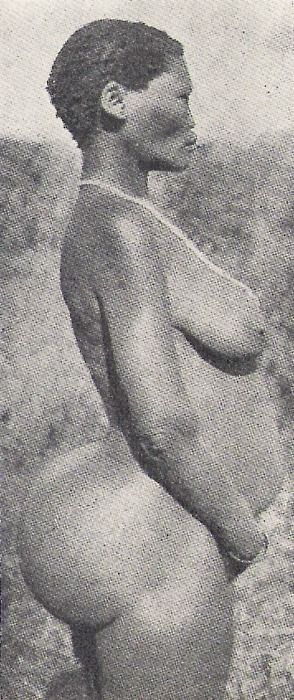 """Original photograph of SAARTIJIE """"SARAH"""" BAARTMAN. Born and raised amongst the KHOIKHOIS in SOUTH AFRICA. In 1810, she was persuaded by Dr. WILLIAM DUNLOP to travel to EUROPE to make her fortune. However, she was considered an anthropological freak in ENGLAND/PARIS, and she found herself being displayed as a sexual curiosity, and could only find work as a PROSTITUTE and CARNIVAL FREAK. Dubbed by her captors, THE HOTTENTOT VENUS, her image swept through ALL of European popular culture.:"""