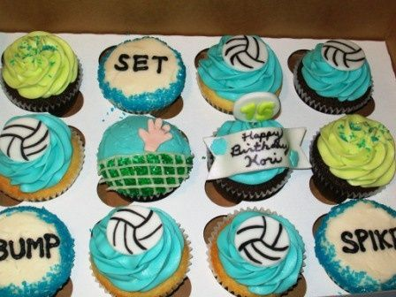 Volleyball cupcakes | food and cake ideas! | Pinterest