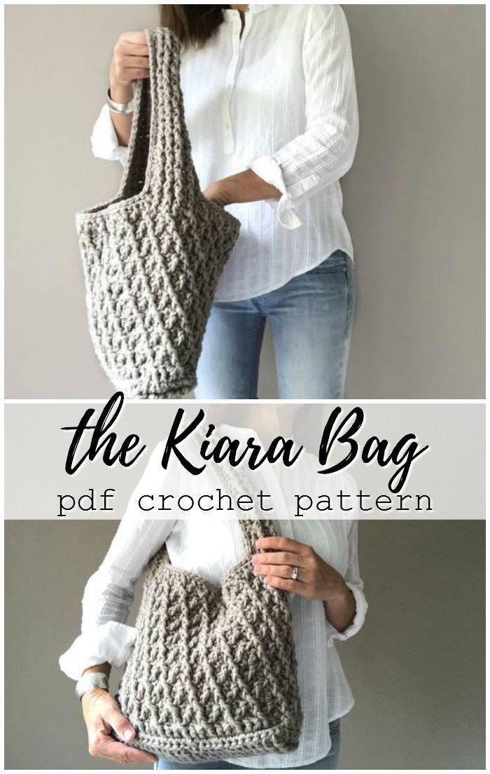Schönes und robustes Häkelmuster für diese große und funktionale Handtasche