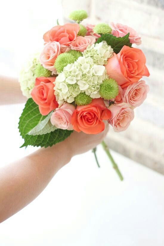 Pretty Wedding Bouquet Comprised Of: Pink Roses, Coral Roses, Green Button Mums, Green Snowball Viburnum & Green Foliage••••