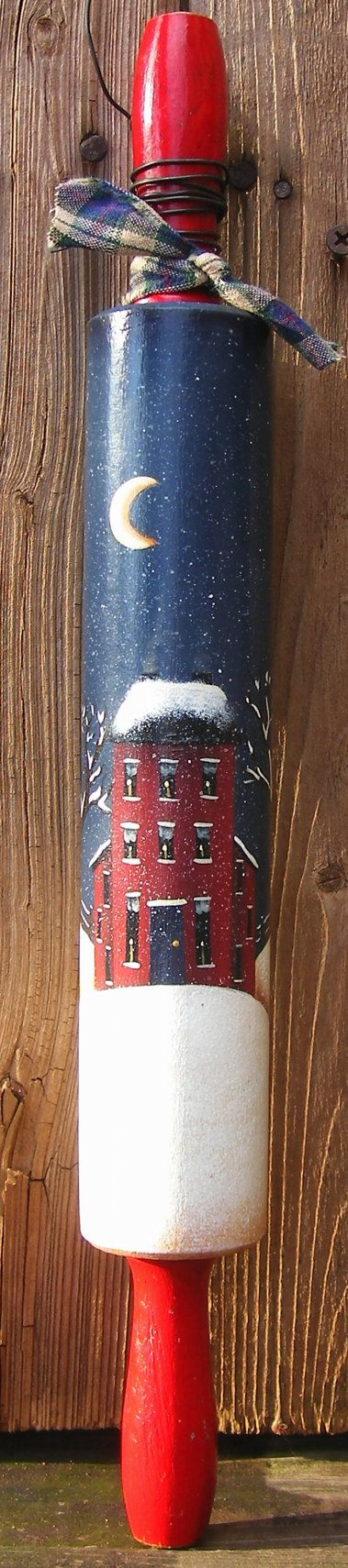 Hand Painted Saltbox Winter House on Vintage by PaintingByEileen, $8.00