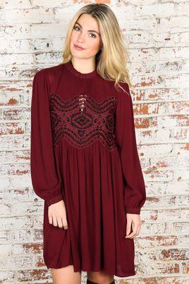 FRINGE: I'm All In Dress-Burgundy-LARGE