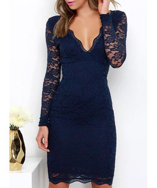 Sexy Plunging Neck Long Sleeve Solid Color Women'S Navy Blue Lace Midi Dress LAVELIQ - LAVELIQ - 1