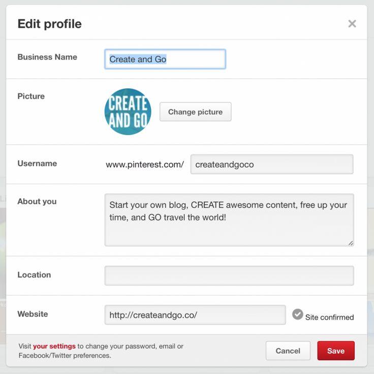 Pinterest edit profile