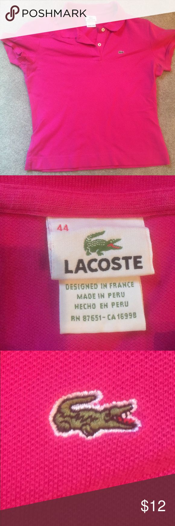 Lacoste Pink Polo Lacoste Pink Polo in excellent condition! Just trying to clean out my closet! Lacoste Tops Blouses