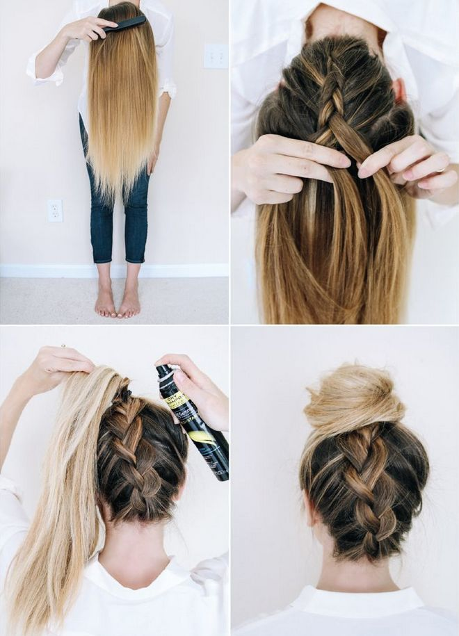 A pictorial showing how to make an upside down braided ponytail/bun. #hair
