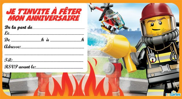invitations anniversaire lego the city gratuites imprimer avec les thmes de policiers pompiers et larctique tlchargement gratuit en pdf