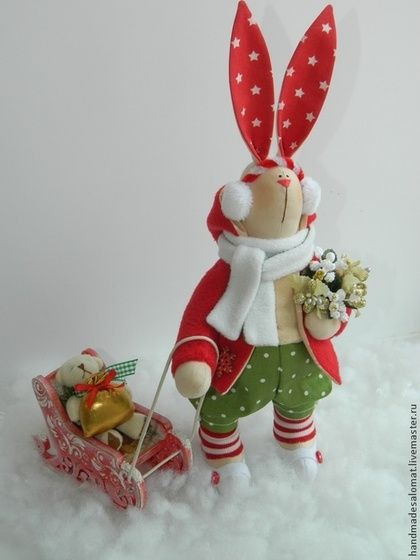 Рождественский заяц - ярко-красный,зайка,заяц тильда,тильда заяц,Тильда Зайка