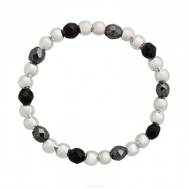Pierścionek elastyczny / jump / agat czarny / hematyt / srebro - Selfie Jewellery - Sklep Internetowy