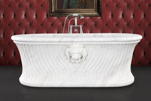 Simba white veined marble bath