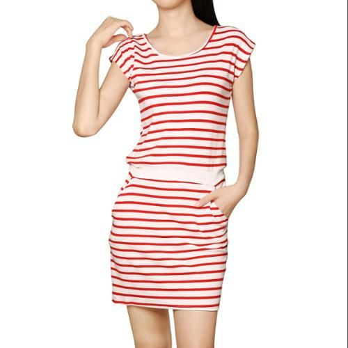 Allegra K Women's Round Neck Sleeveless Stripes Unlined Casual Dresses Red (Size L / 12)