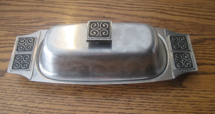 Rogers Insilco Danish Modern butter dish with glass insert