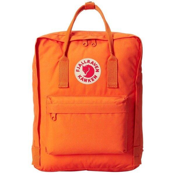 Fj  llr  ven K nken (Burnt Orange) Backpack Bags ($80) ❤ liked on Polyvore featuring bags, backpacks, strap backpack, orange tote bag, tote bag backpack, backpack tote and water bottle tote