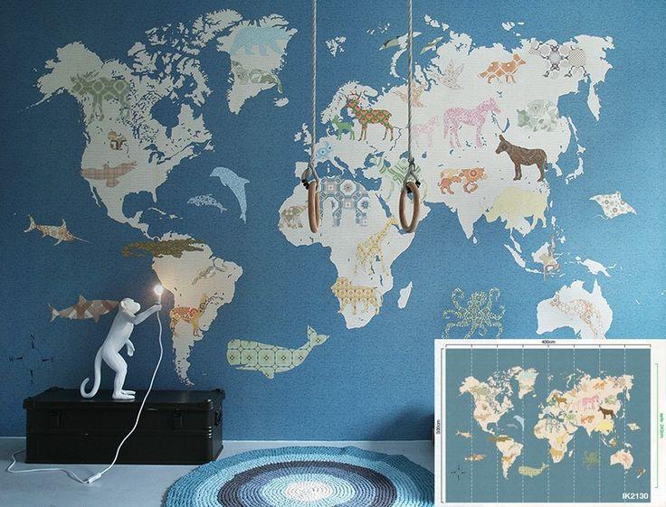 Behang XXL paneel wereldkaart kinderkamer jongenskamer Inke behangwinkel - Retro Baby Shop
