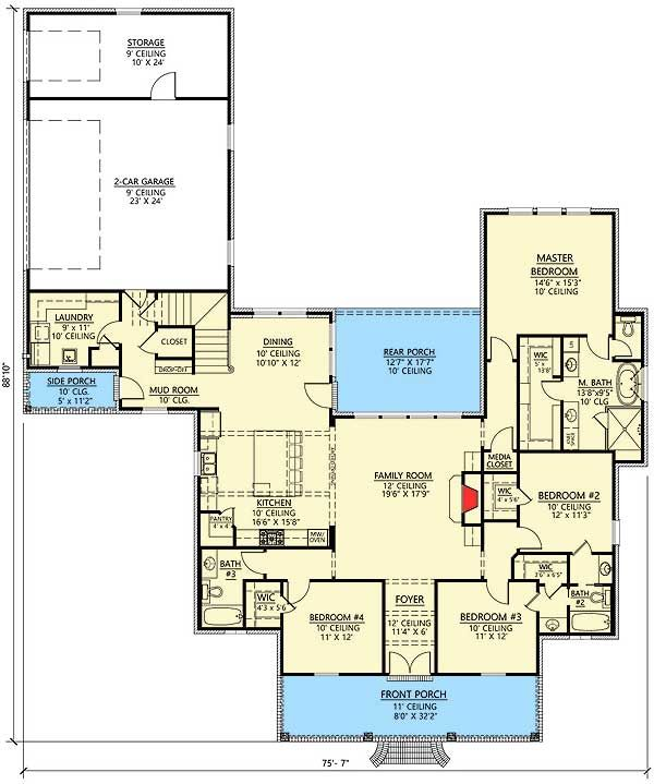 Plan 56407sm 4 bed acadian bonus rooms pantry and butler for Acadian house plans with bonus room