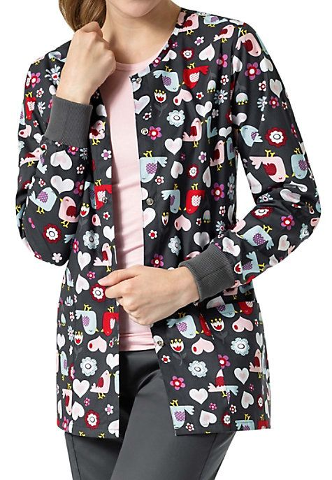 Stay warm in the office with the Red Robin Scrub Jacket from Zoe Chloe! This colorful jacket features birds, hearts, and flowers and is made with soft material that feels great to wear. Two front pockets make it easy to keep important accessories nearby. Zoe Chloe Red Robin Print Scrub Jackets Crew neck Snap front Two patch pockets Knit cuffs Side slits 100% cotton Center back length: 29 1/4