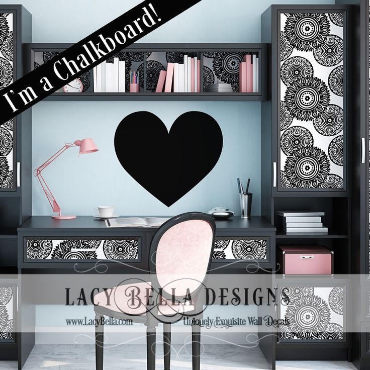 Chalkboard Heart Graphic www.lacybella.com | Lacy Bella Designs | Heart shaped vinyl chalkboard decal home decor