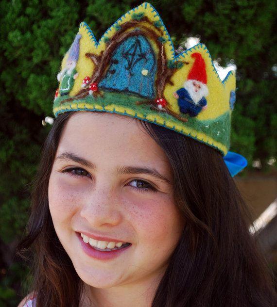 Wool Felt Children, Waldorf Inspired, Birthday / Photo Prop / Dress up Crown -Gnome Door on Etsy, $50.00