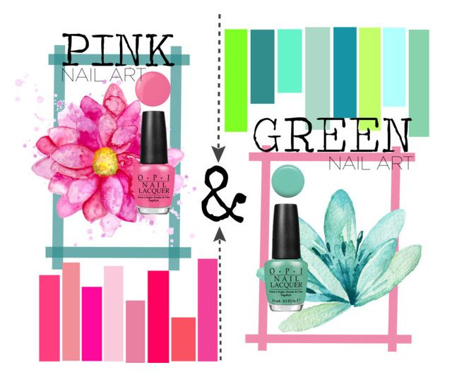 """""""Pink & Green Nailart"""" by clareceq29 on Polyvore featuring beauty, Essie, Jin Soon, OPI and gottaloveit"""