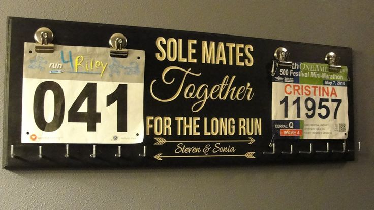 "Sole Mates Bib Display, Running Bib Holder, Running Medal Holder, Racing Medal Holder, Bib Holder, Bib Hanger, Racing Bib Holder,. New Design!!!!!!! Running Medal Holder from Mariah Hill Designs Looking for medal holders to show off all the hard work you've put in? Use this inspirational running medal holder to display all your race medals on your wall. 10"" x 28"" Plaque IMPORTANT INFOS - All hooks included not installed. (otherwise board would get damage in shipping) Holes will be…"