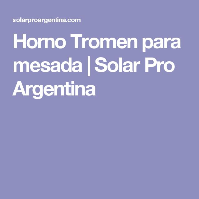 Horno Tromen para mesada | Solar Pro Argentina