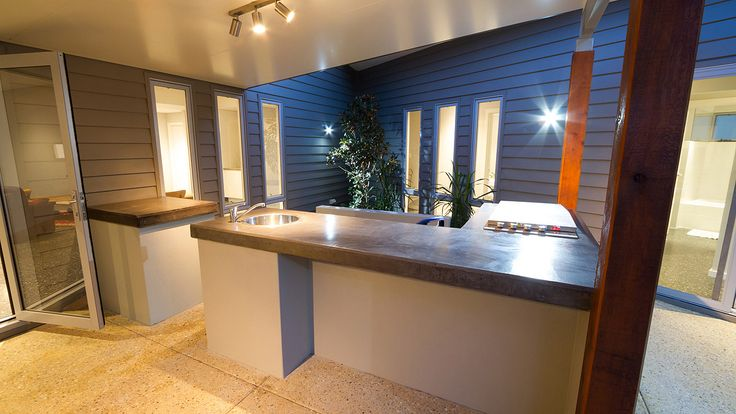 Rear patio design, architecture, James Hardie cladding, modern backyard design, outdoor kitchen, timber patio beams, outdoor living