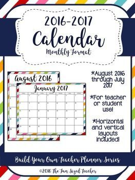 This colorful calendar is perfect for organizing all of the dates you need to keep track of in the classroom. I have included both vertical and horizontal formats to best meet your needs. It can be used for curriculum planning, assessment and grading periods, to help keep track of parent contact or meetings, and much more.