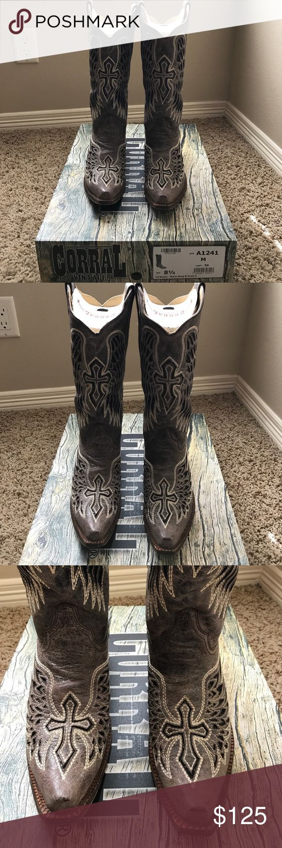 Corral Brown Black Wing and Cross Boots A1241 Corral Brown Black Wing and Cross Boots A1241 ... Excellent condition, will come with box! Corral Vintage Boots, cowgirl boots. Corral Shoes