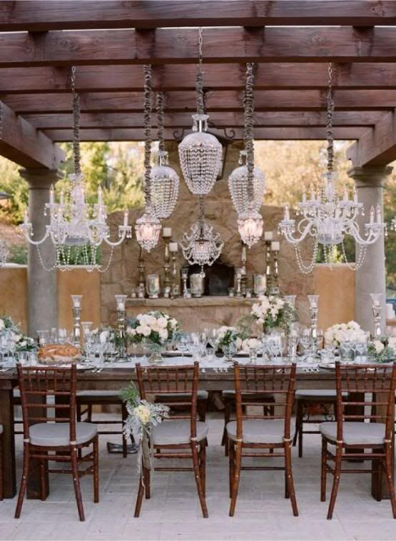 Outdoor lighting for baby shower party ideas for Rustic outdoor chandelier