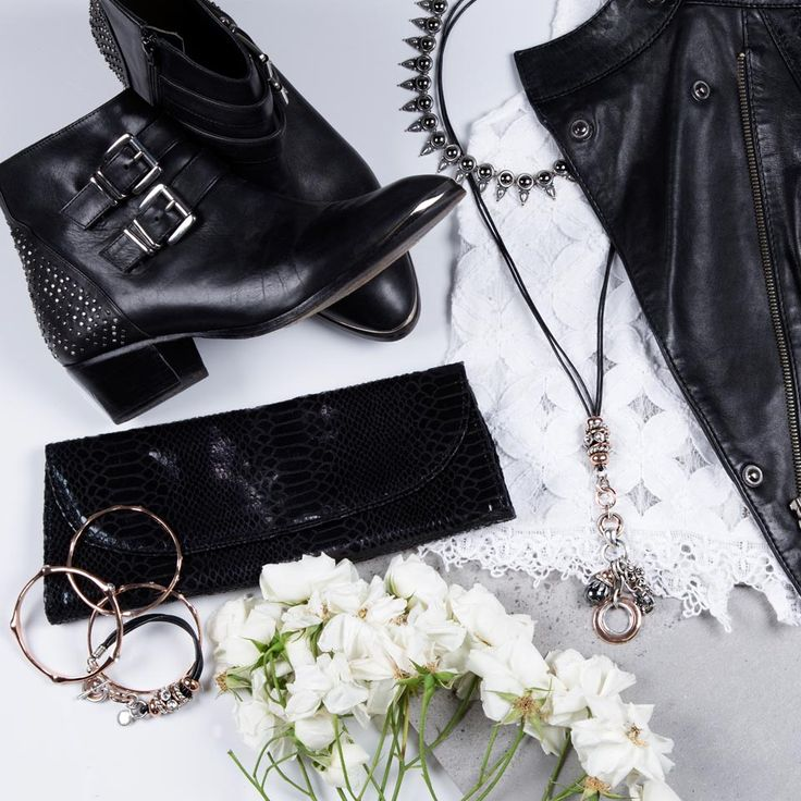 The essentials for your #weekend adventure - We suggest layering our geometric styles with softer SWAROVSKI crystal, leather and rose gold designs. For the ultimate rock-chic look, pair it with this Topshop #leather jacket, Forever New clutch & ASOSOfficial lace top.