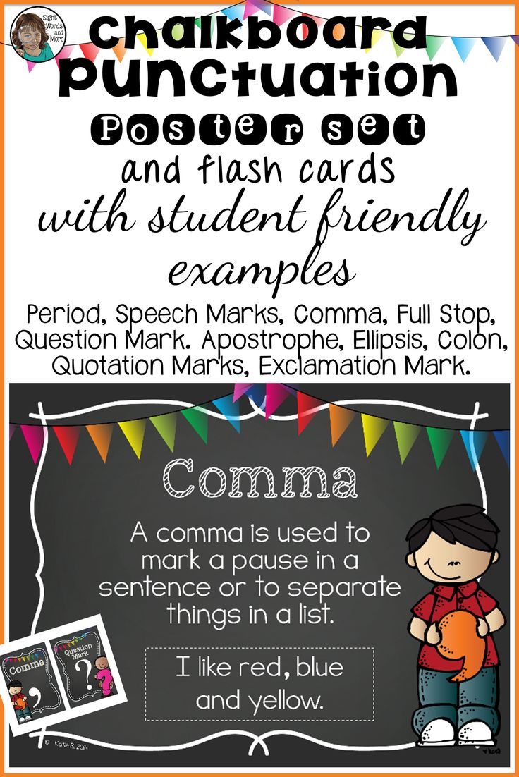 Punctuation posters and large flash cards that will suit younger learners (K - 2). The posters make a great teaching tool and/or display, which students can always refer to while they are working independently.
