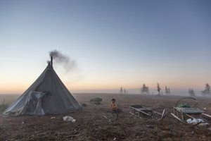 A camp of reindeer herders on the left bank of the Yenisei River. The Nenet lifestyle under threat from oil extraction in Russia's north. The Guardian, December 2016