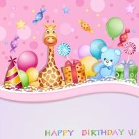 felici carte di compleanno del bambino carino disegno vettoriale