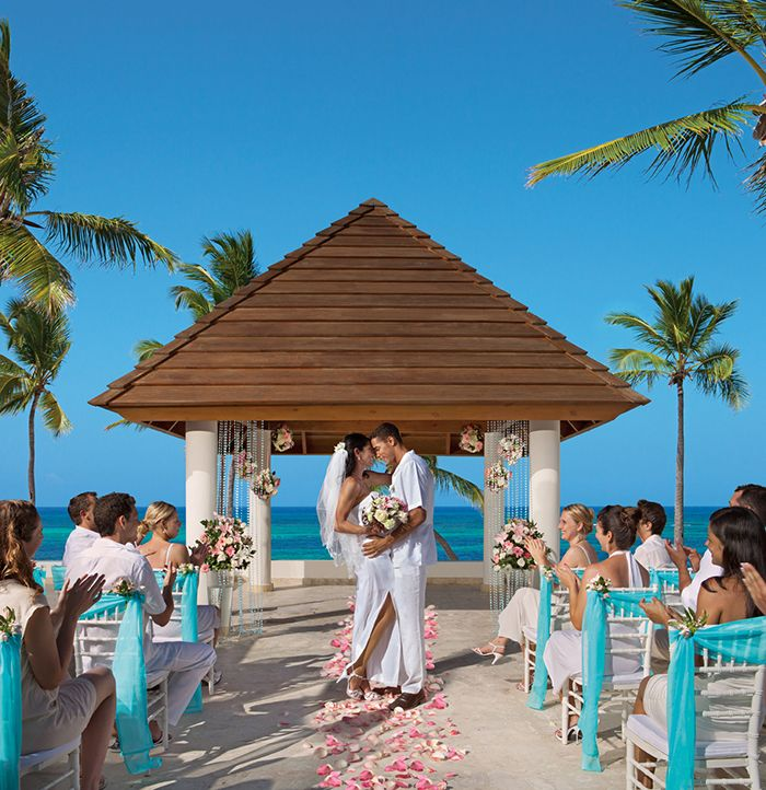 Overlook The Stunning Caribbean Sea Under A Beautiful Decorated Wedding Gazebo At Secrets Royal Beach Punta Cana