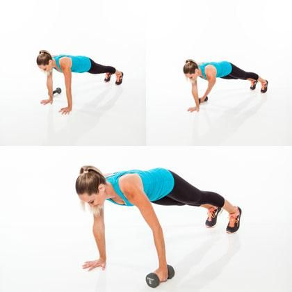 Begin in a full plank position with a dumbbell on the floor a few inches away from the outside of right hand. Engage abs to keep torso steady and reach left arm under right to grab dumbbell. Pull the dumbbell across the floor to the left side of body, releasing it just outside of left arm, and then return to plank. That's one rep. Do 20 reps, alternating sides each time.