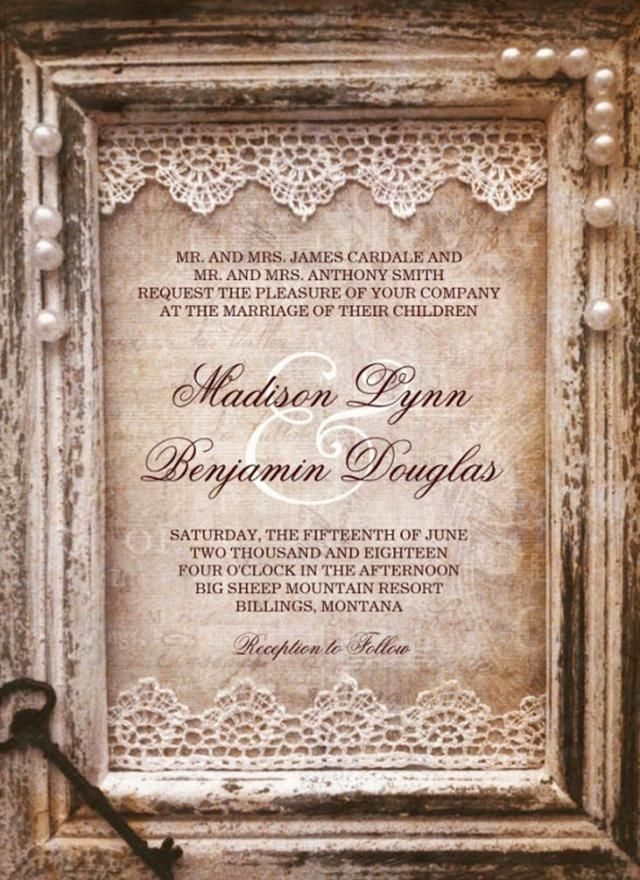 sample of wedding invitations templates%0A    Gorgeous Rustic Vintage Wedding Invitations