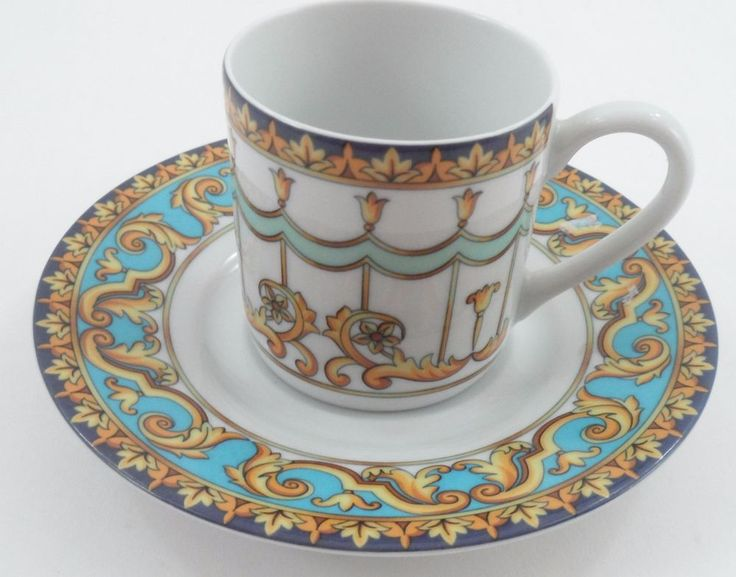 Giesche Porzellan Porcelain Barocco Demitasse Espresso Cup Saucer Italy Baroque #Giesche